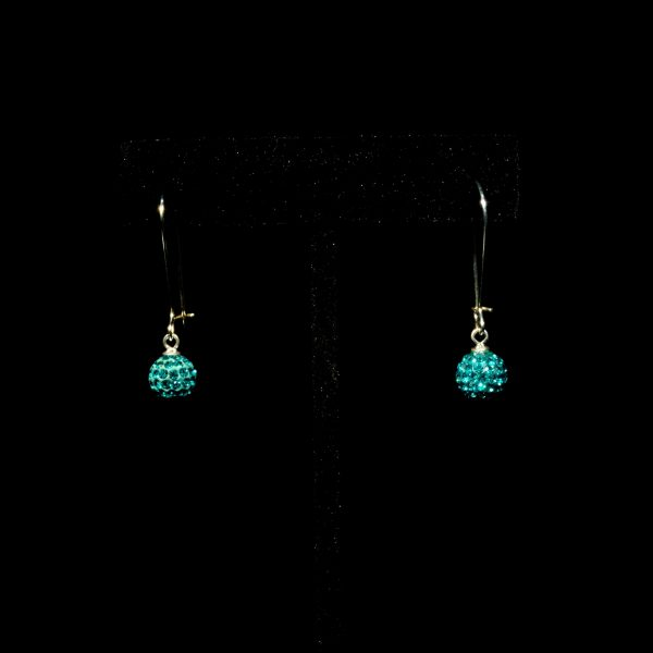 Large Ear Wires With Teal Balls