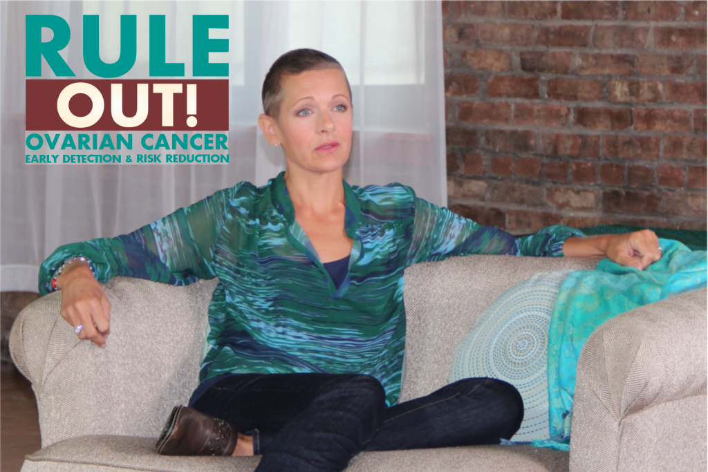 Rebecca on couch with Rule Out logo