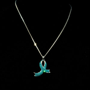 curb chain with teal awareness ribbon